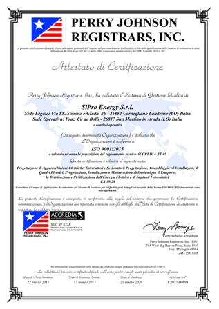 SiPro certificato ISO9001 15